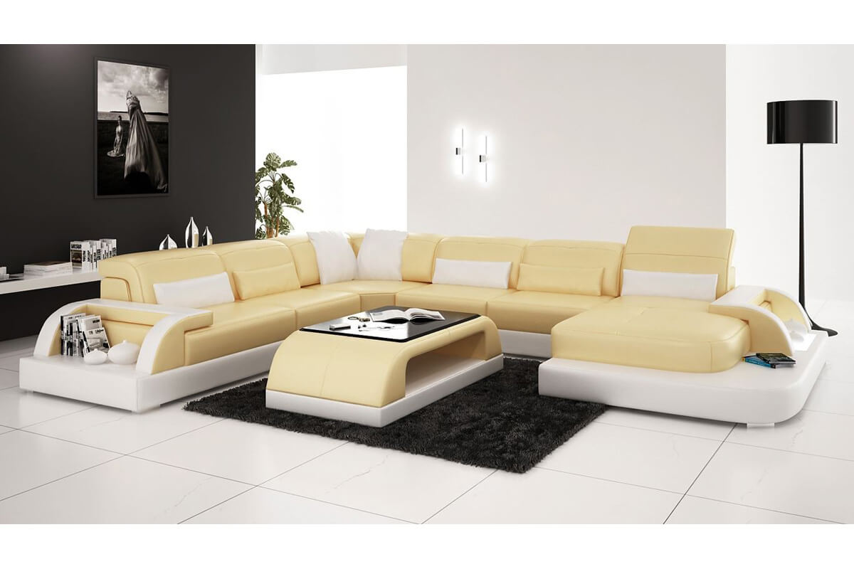 yellow long sectional couch with chaise