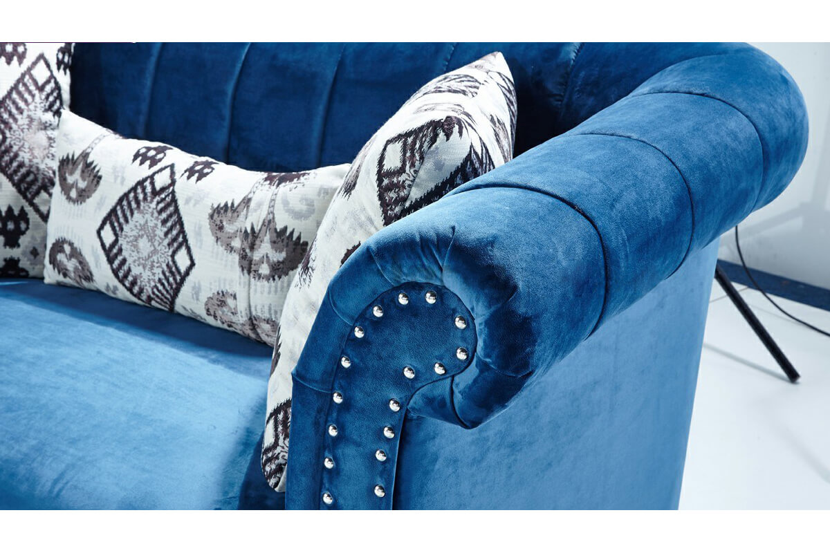 sofa inner arms with decorative cord outlines