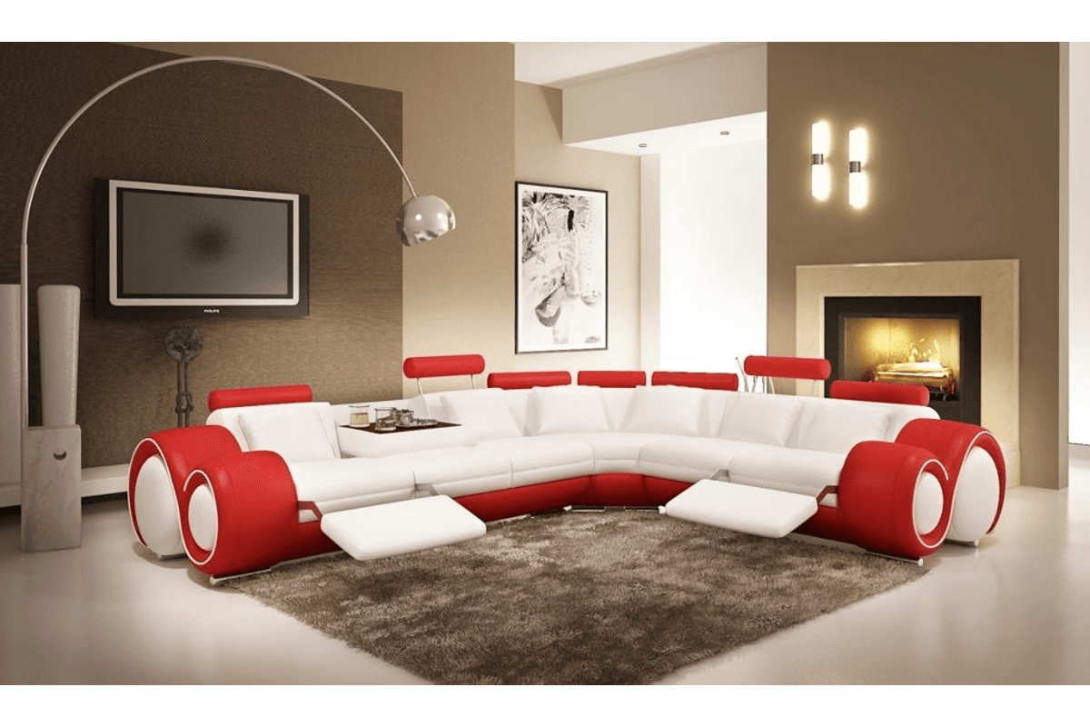 red sectional reclining sofa