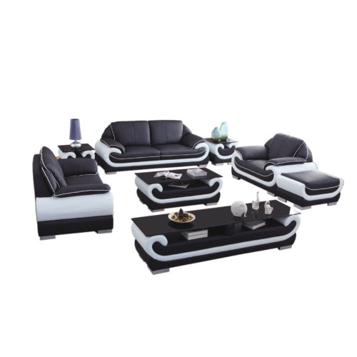genuine leather custom sofa set with ottoman