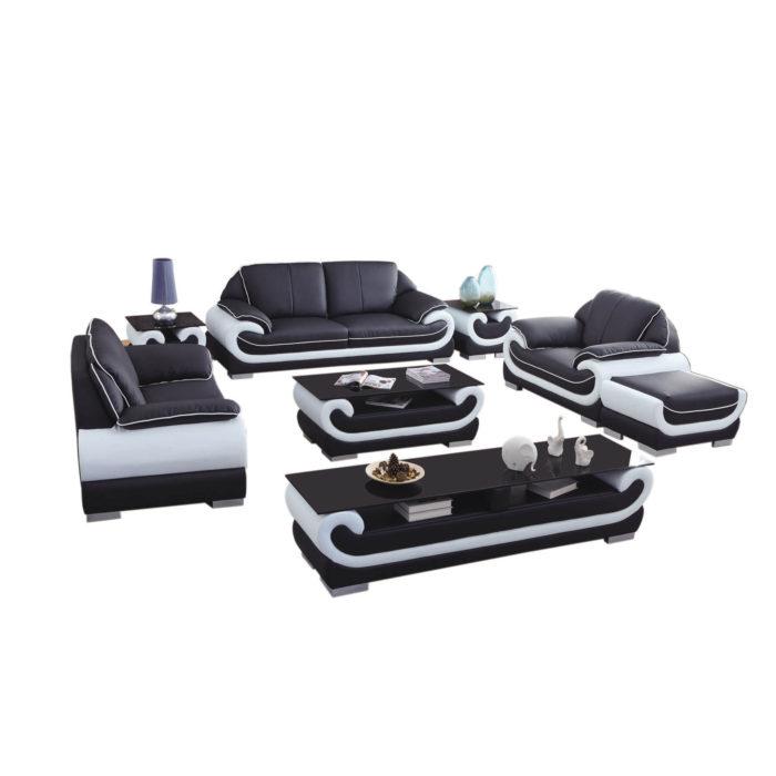 genuine leather custom sofa set with ottoman