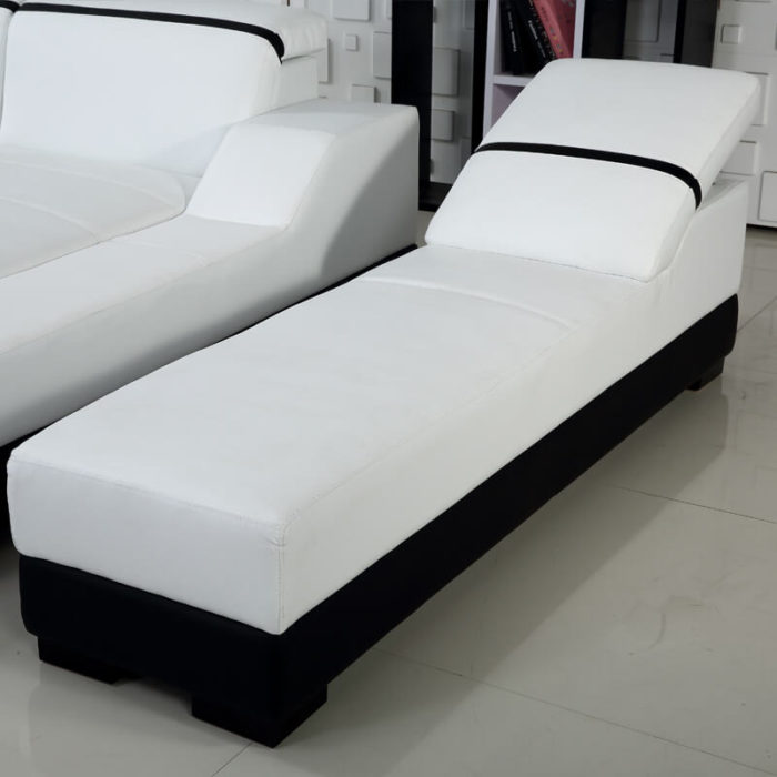 white leather chaise lounge
