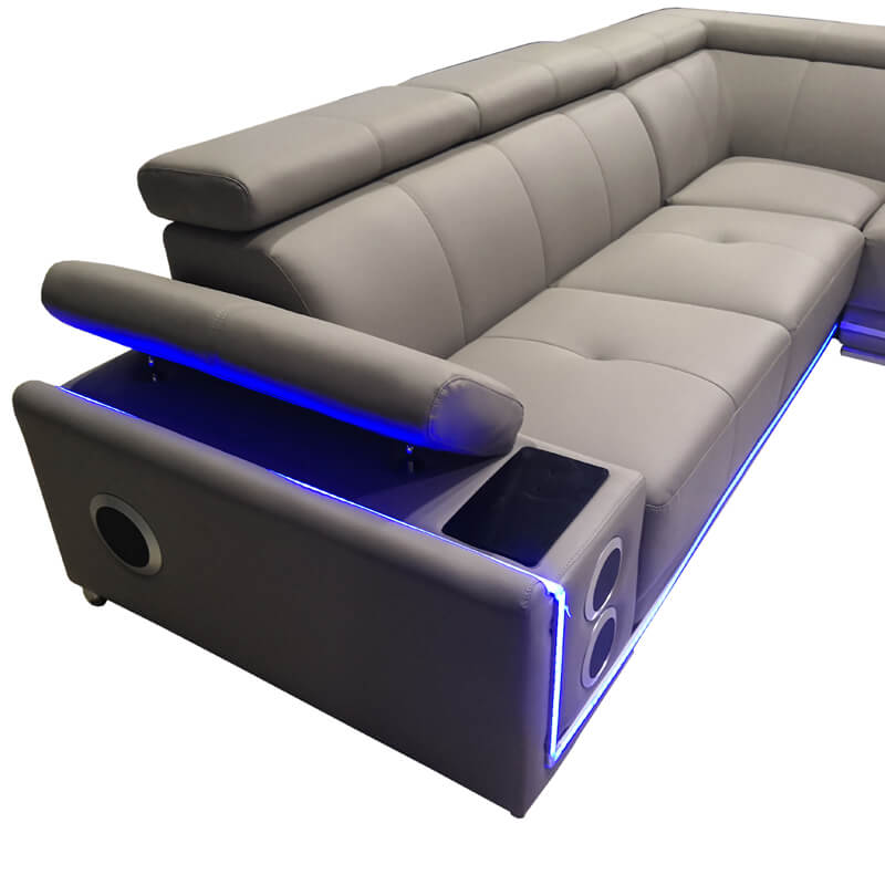 sofa with adjustable sofa arm & audi system
