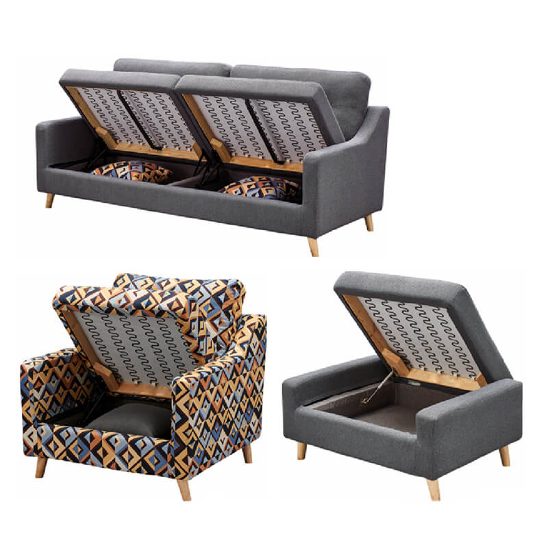 grey storage sofa bed set