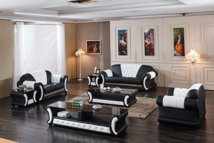 luxury black top grain leather sofa set