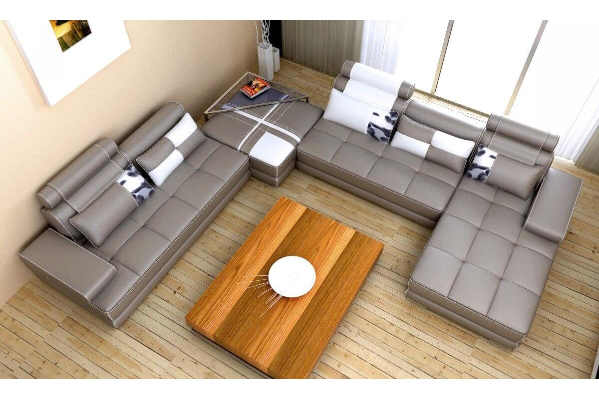 top grain leather large u shaped sofa