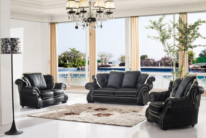 traditional black leather sofa set