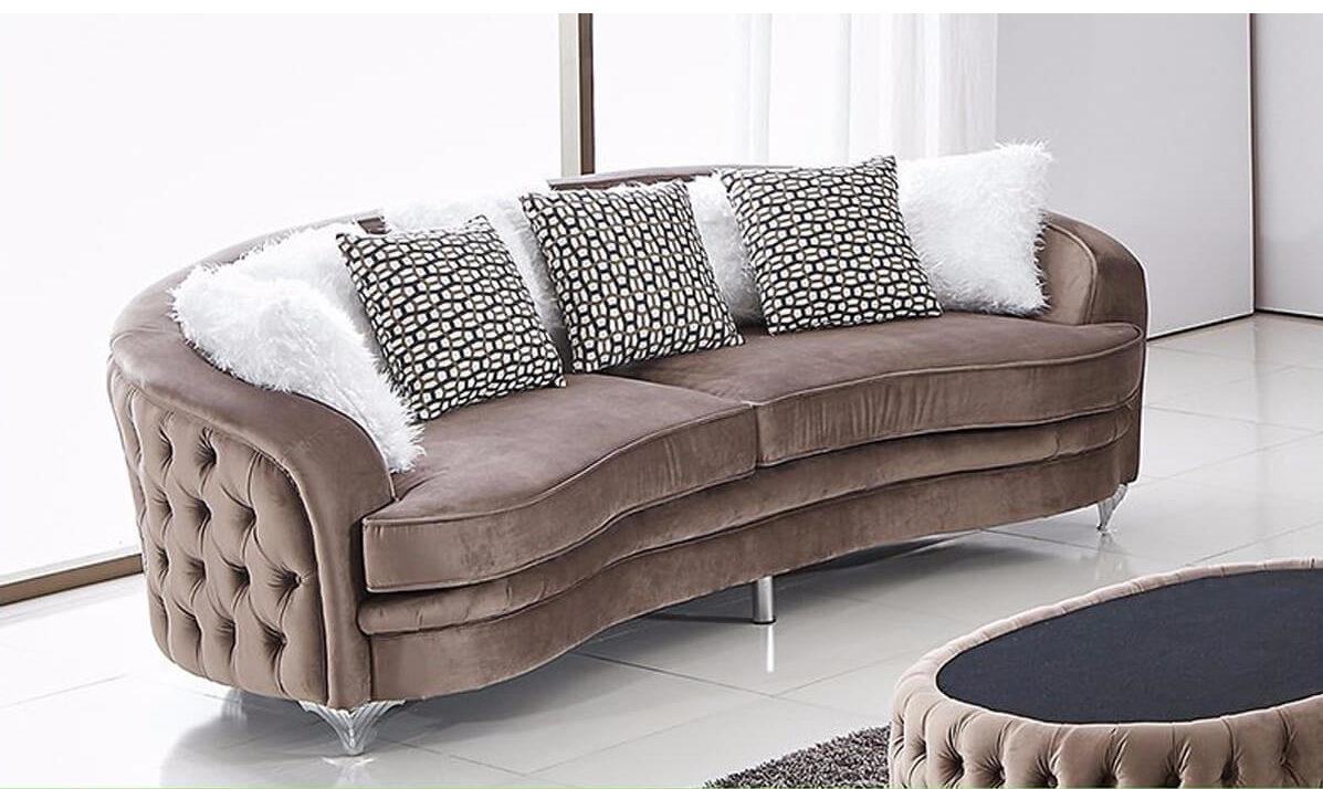 half-round tufted sofa