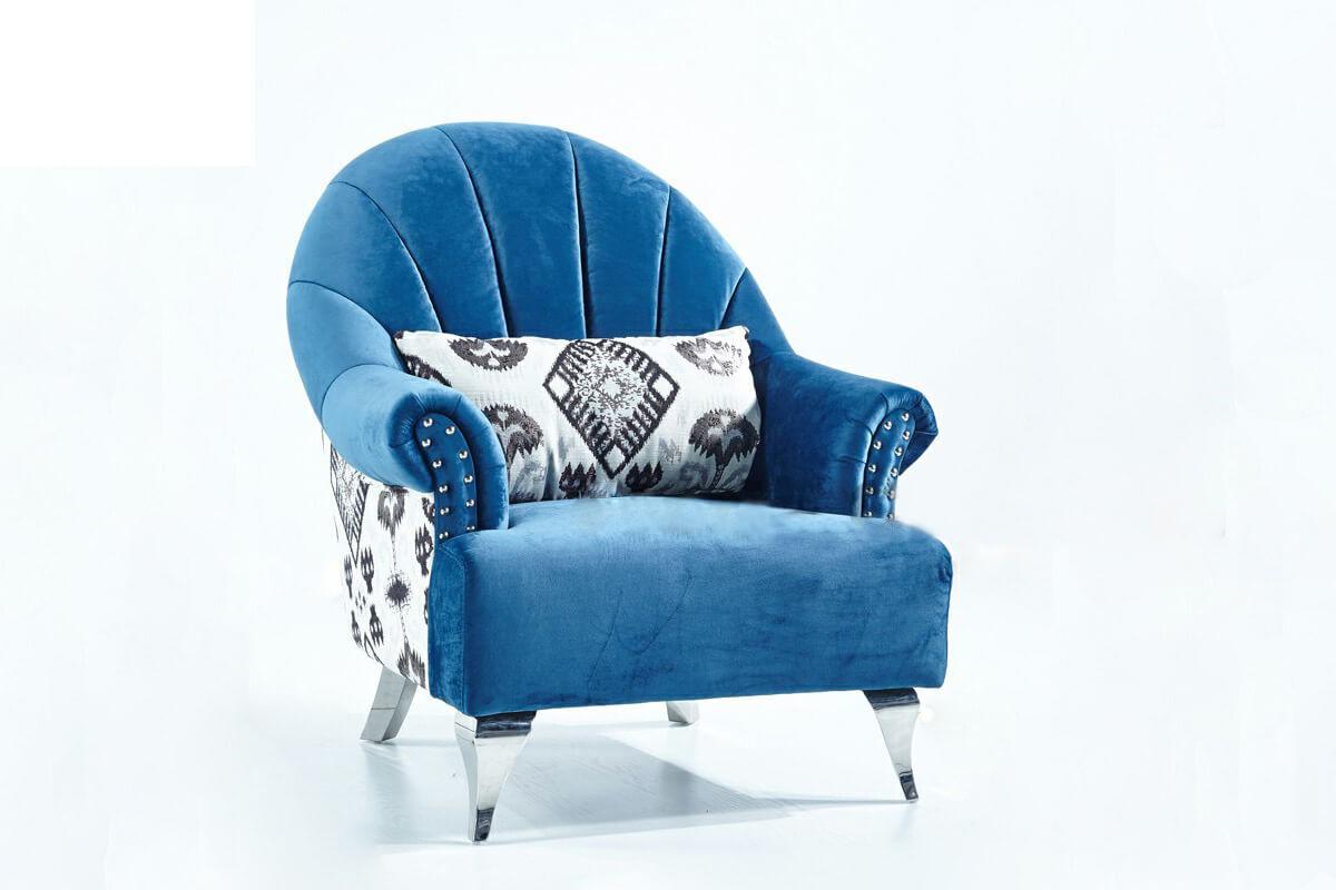 modern living room blue armchair