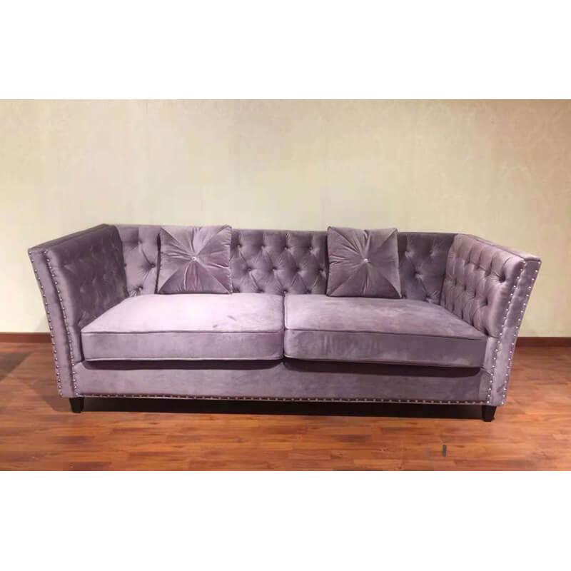 purple tufted loveseat sofa