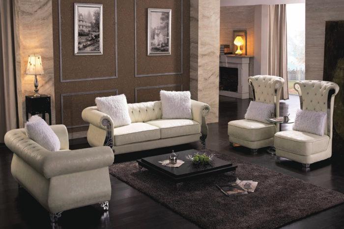 white leather tufted sofa