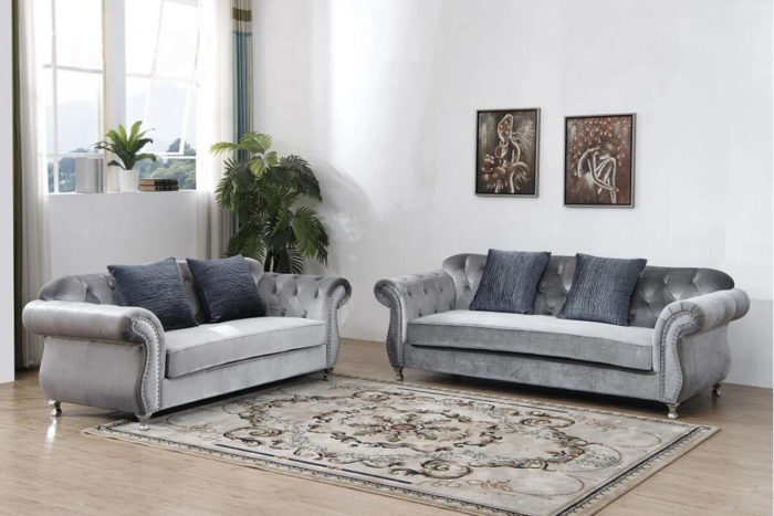 crushed velvet tufted sofa set