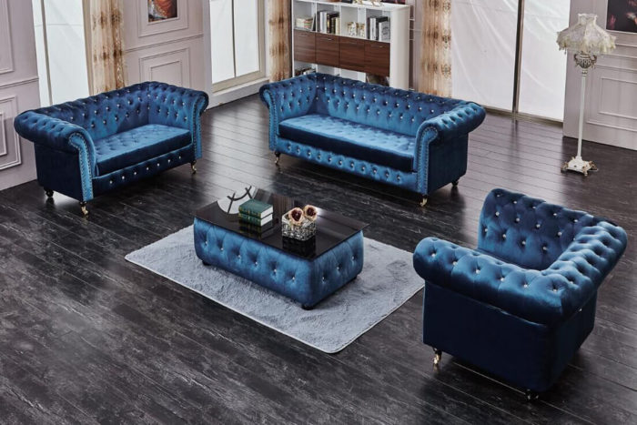luxury blue velvet chesterfield sofa and loveseat