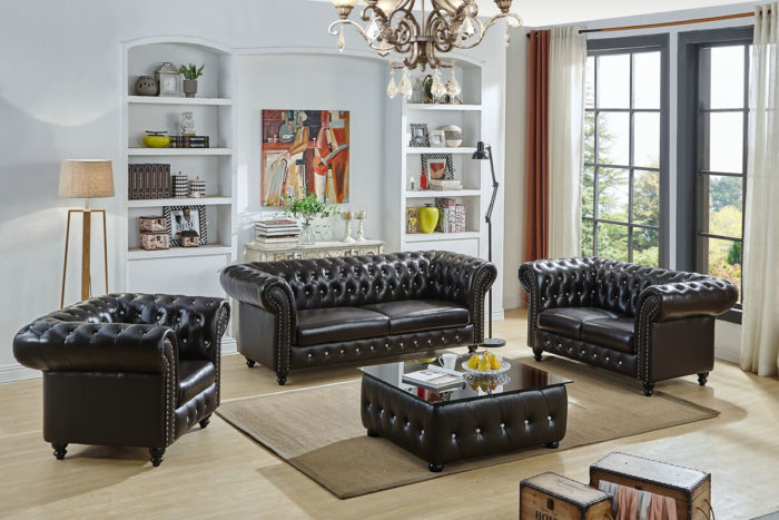 upholstered chesterfield black leather sofa