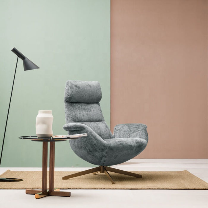 upholstered swivel lounge chair