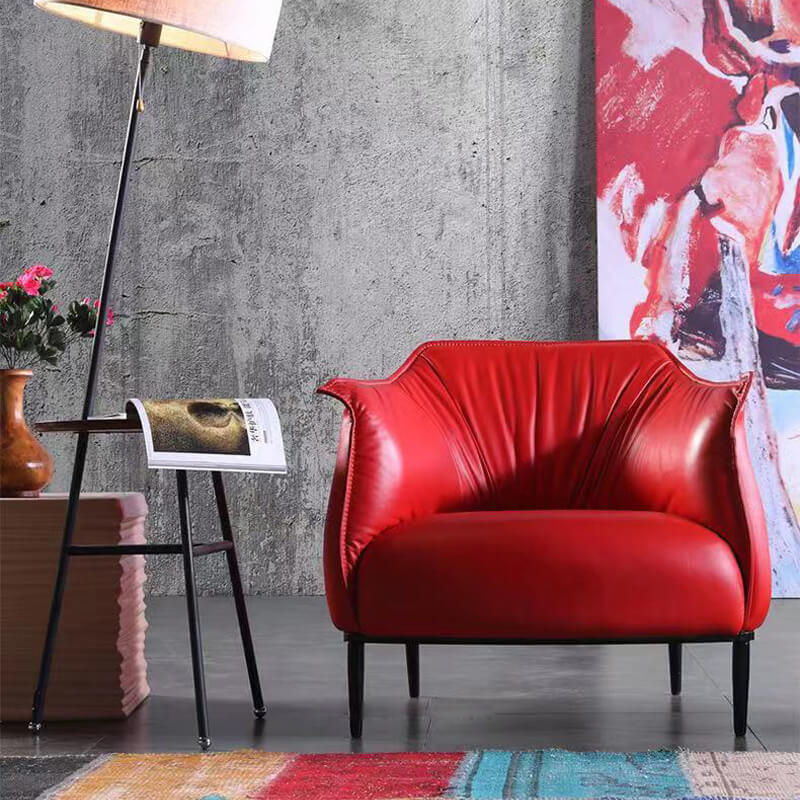 upholstered red sofa chair