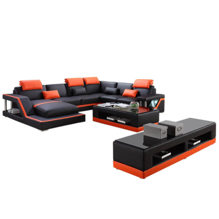full sectional couch with tables