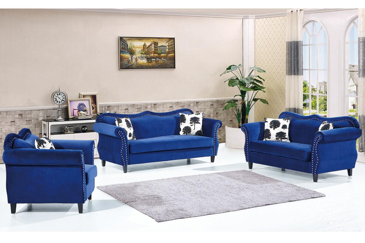 upholstery blue velvet sofa