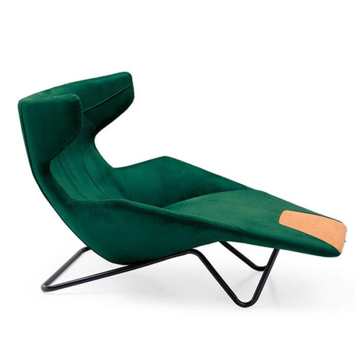 green velvet long chair