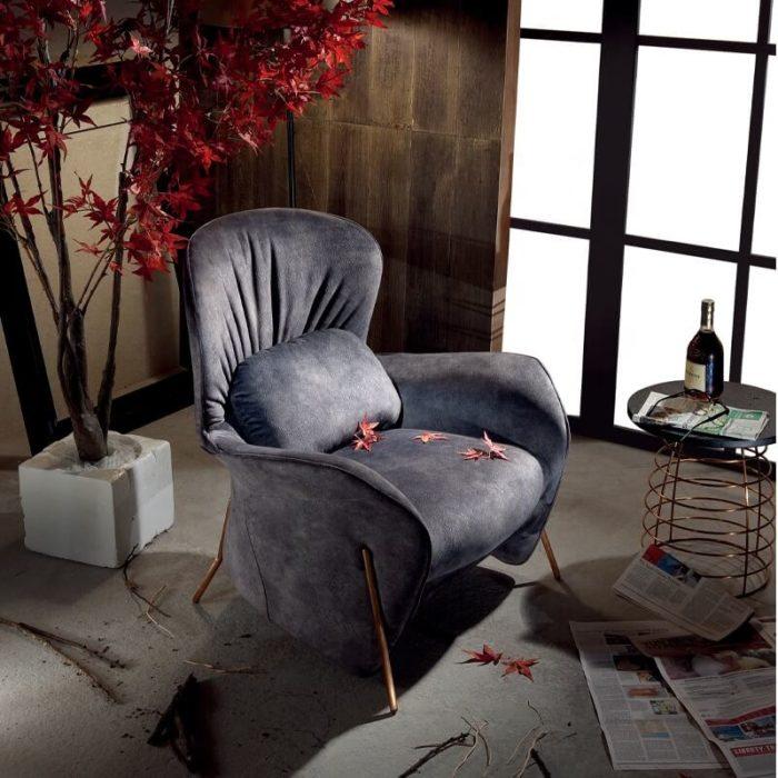 blue velvet lounge chair