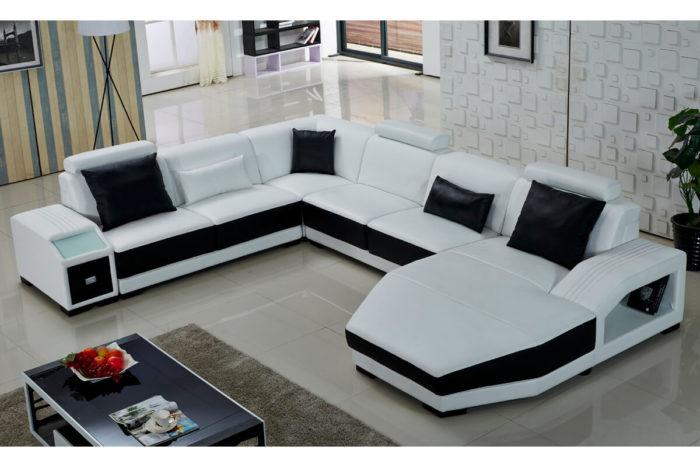 u shaped white leather corner sectional sofa