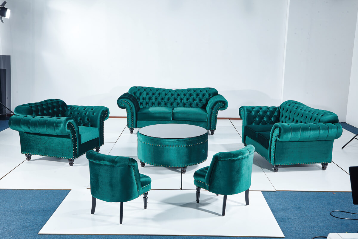 whole green velvet chesterfield sofa set with armchair