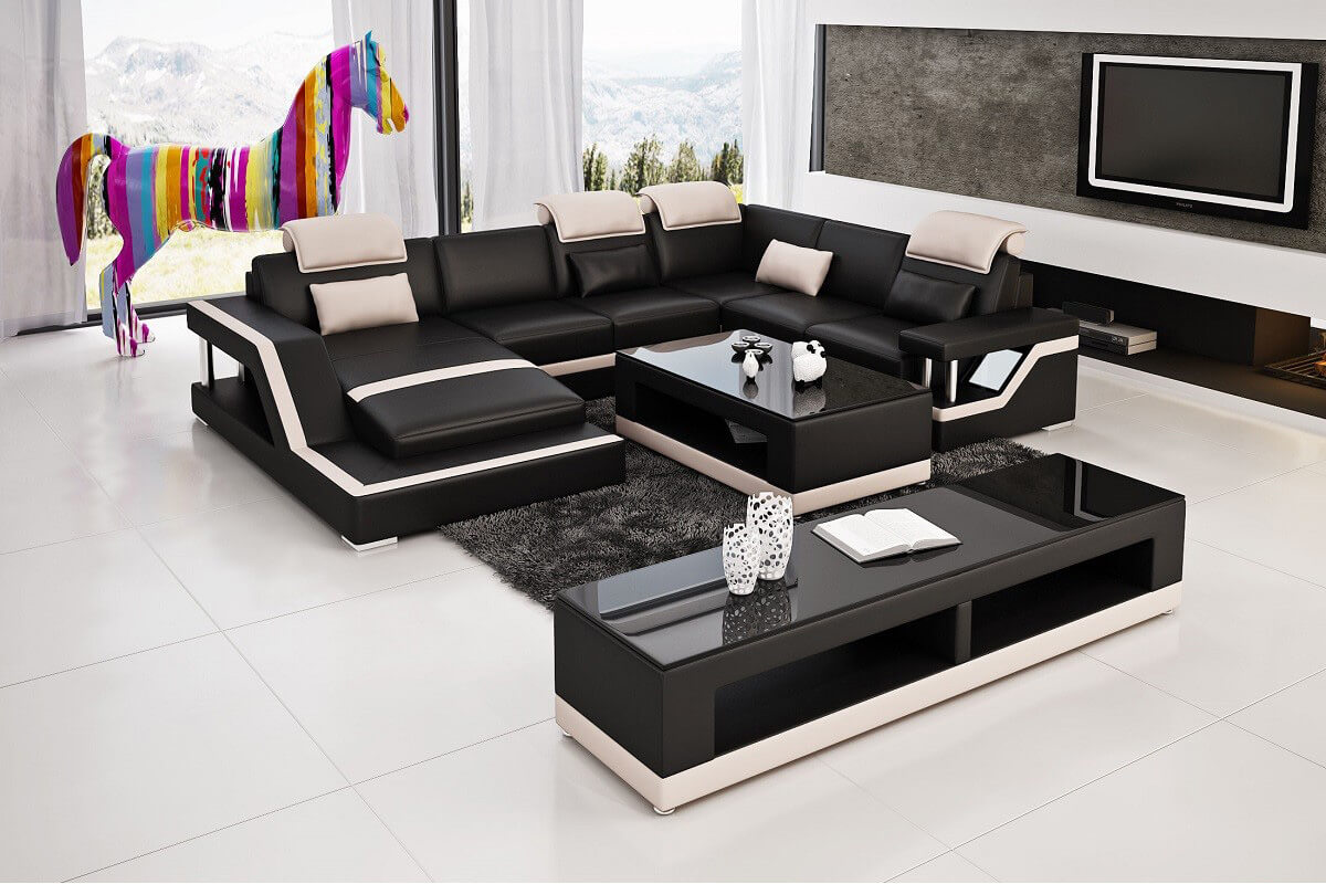 huge black leather sectional sofa