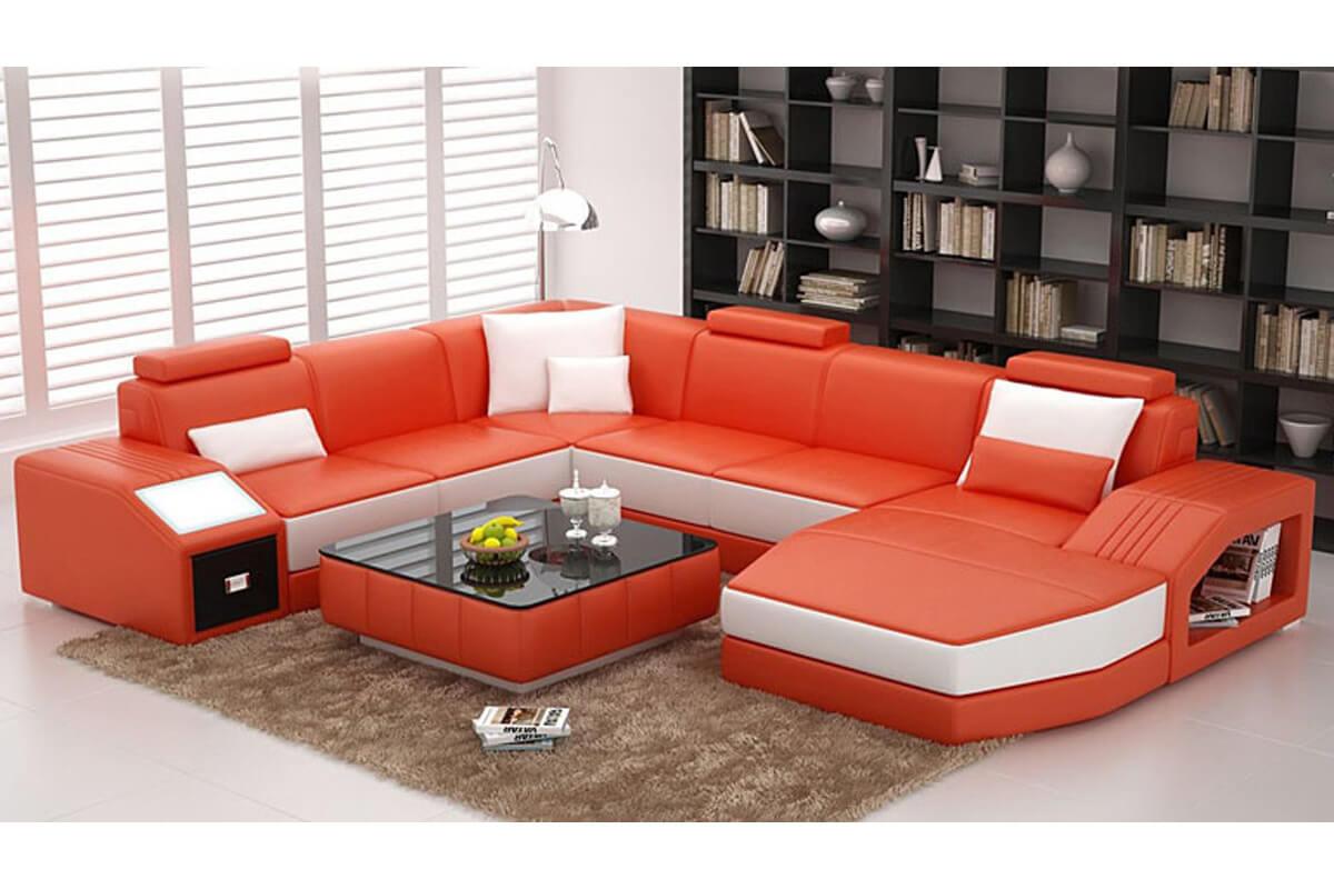 3 piece orange top grain leather sectional sofa