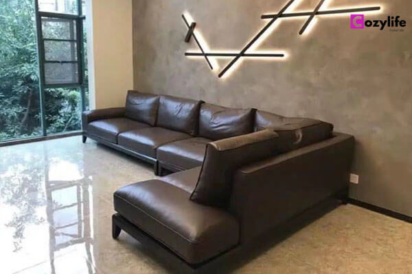 wooden sectional l shaped sofa