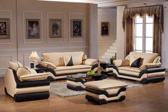 Royal yellow leather sofa set