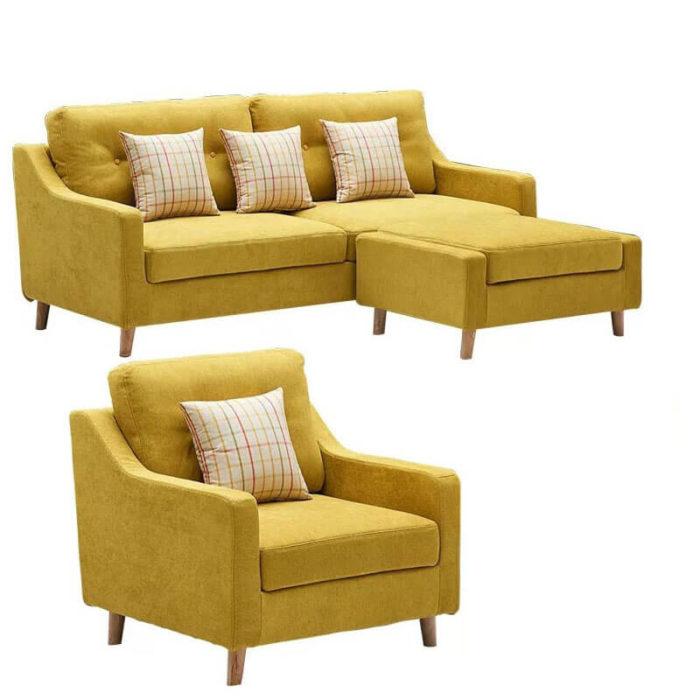 yellow sleeper sofa with armchair