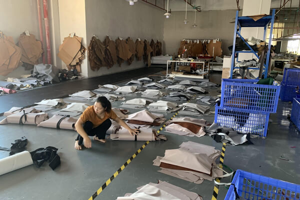 sofa leather or fabric cutting workshop