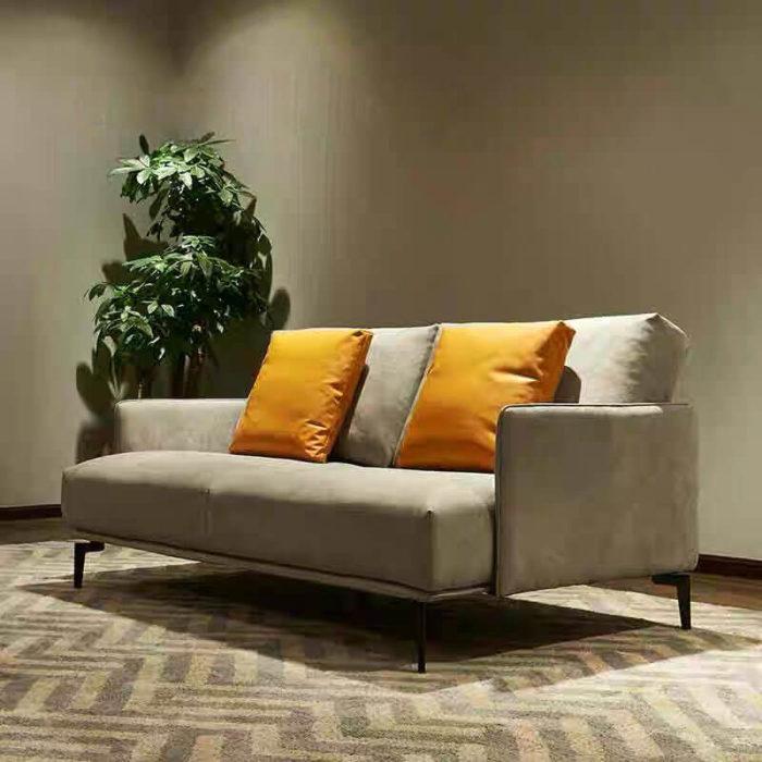 2 seater grey leather sofa