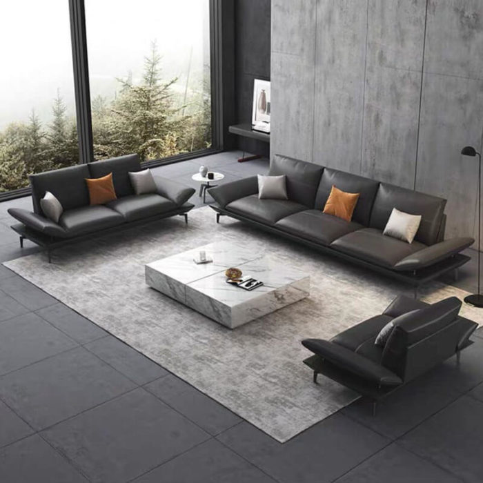 3 piece black leather sofa set