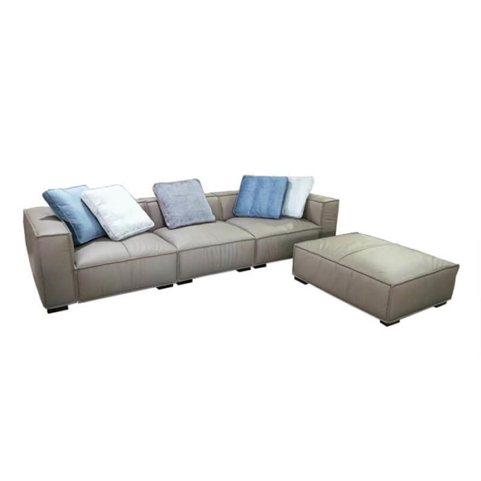 3 seater grey leather ottoman sofa