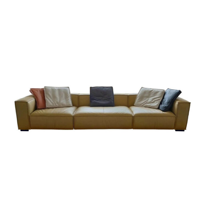3 seater tan leather couch