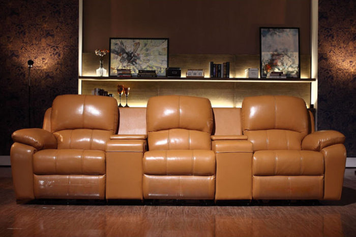 contemporary brown leather cinema recliner chair