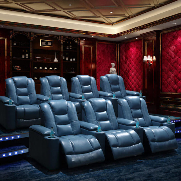blue leather movie theater chairs
