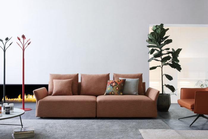 4 seater orange fabric sofa