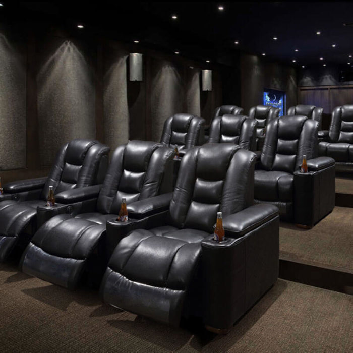 black leather home cinema chairs