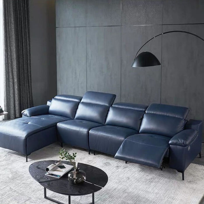 blue leather reclining sectional sofa