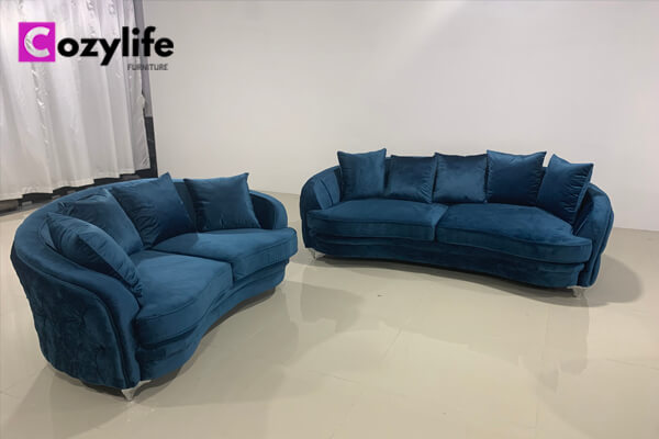 blue velvet deep chesterfield sofa