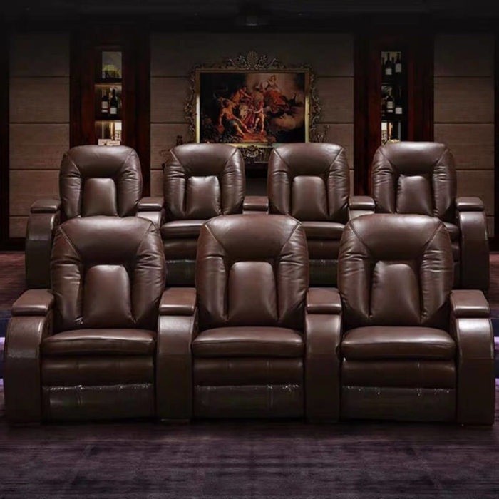 brown leather home theater chairs