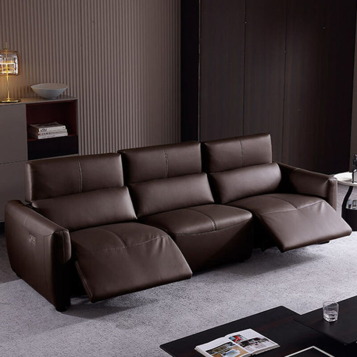 small brown leather power reclining sofa