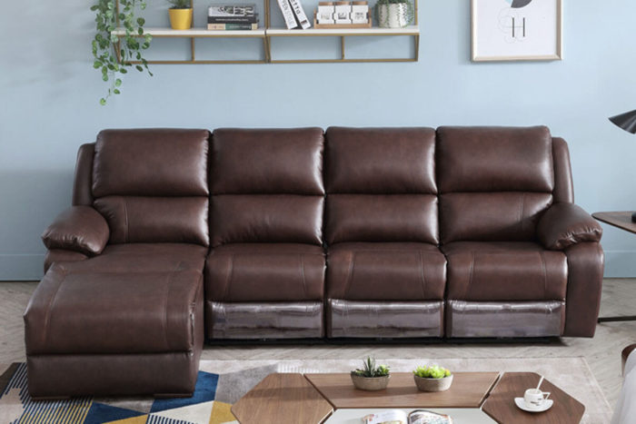 brown leather reclining chaise lounge