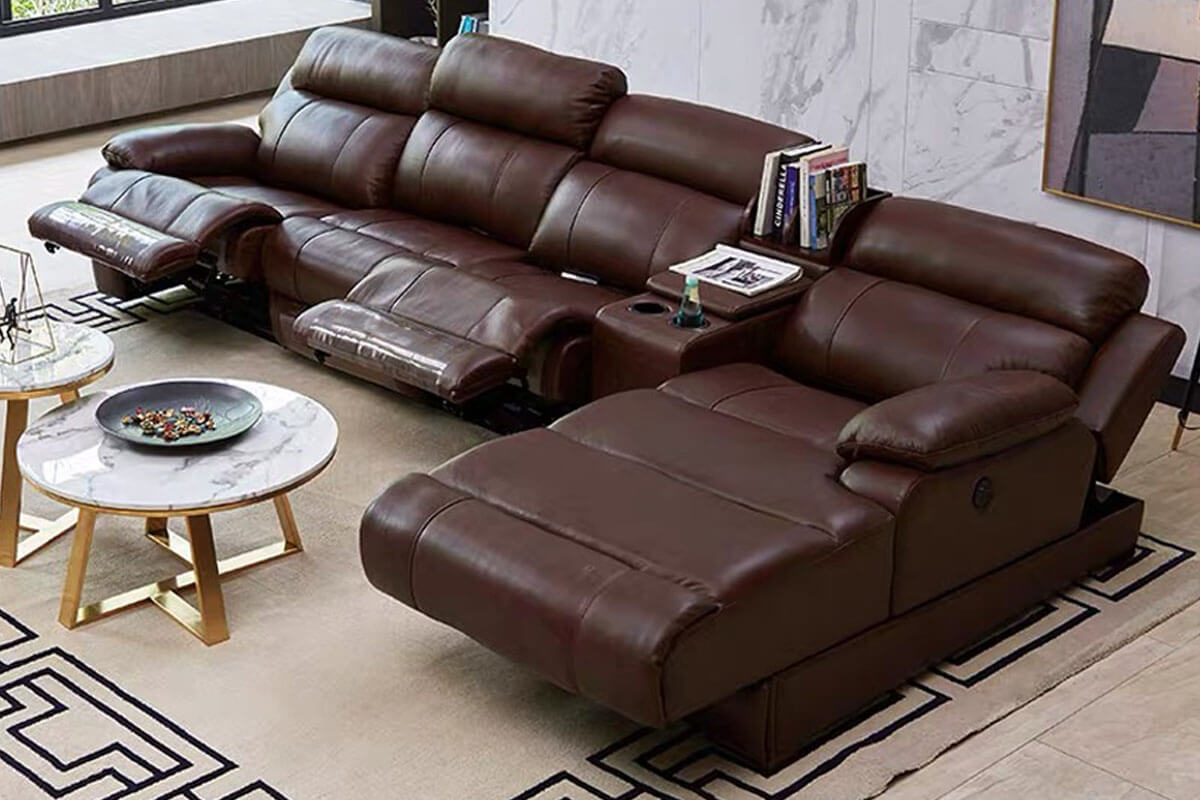 brown reclinning sectional