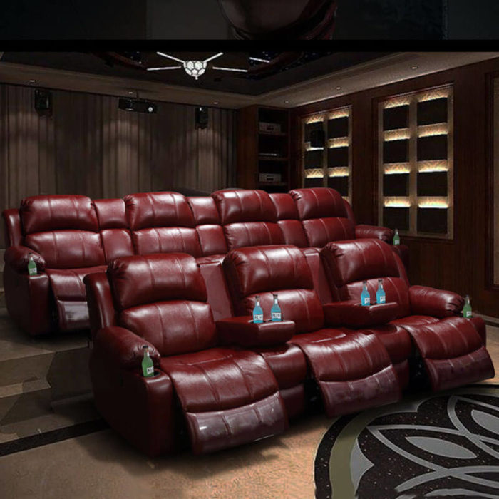red top grain leather movie theater seats