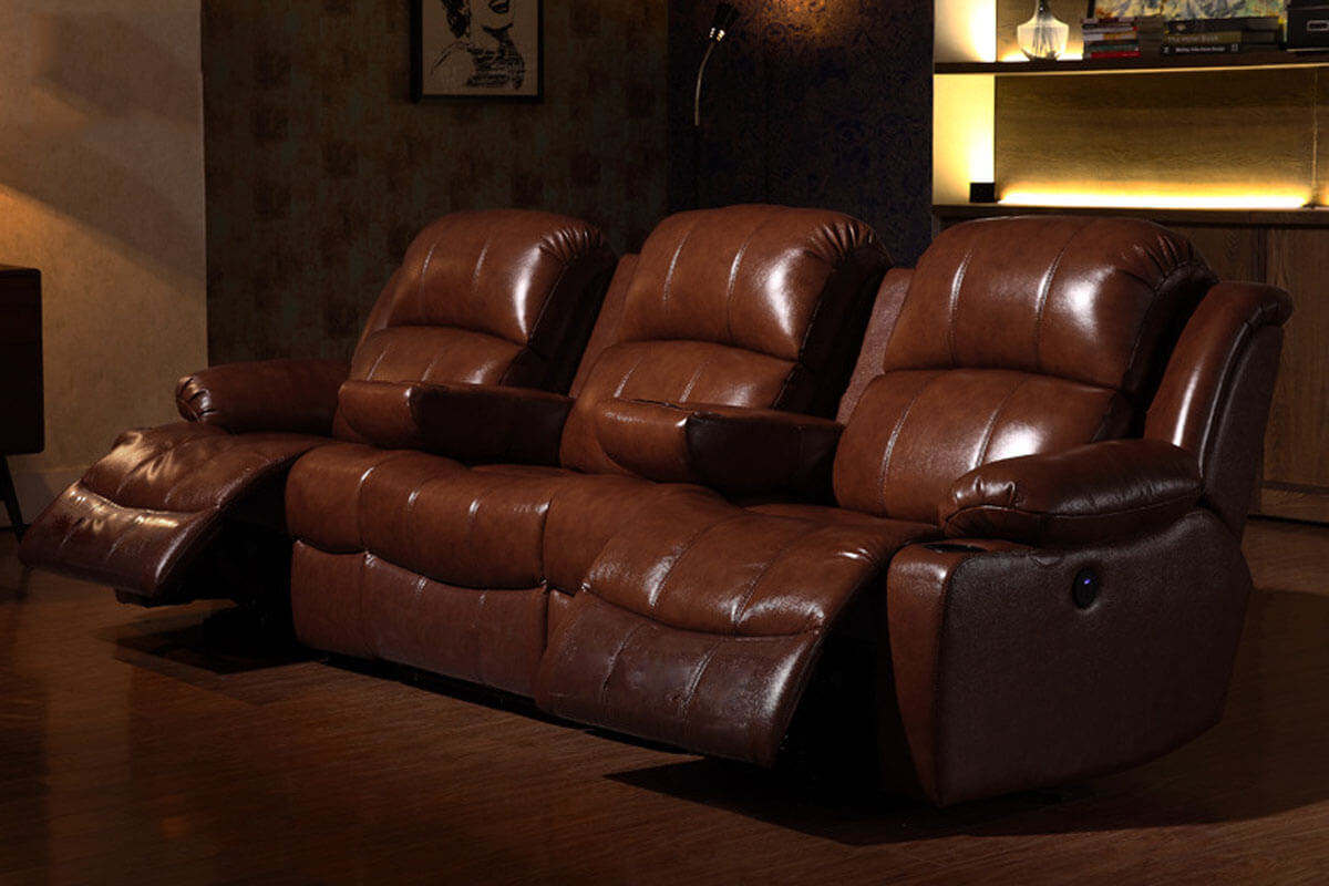 brown leather theater chairs