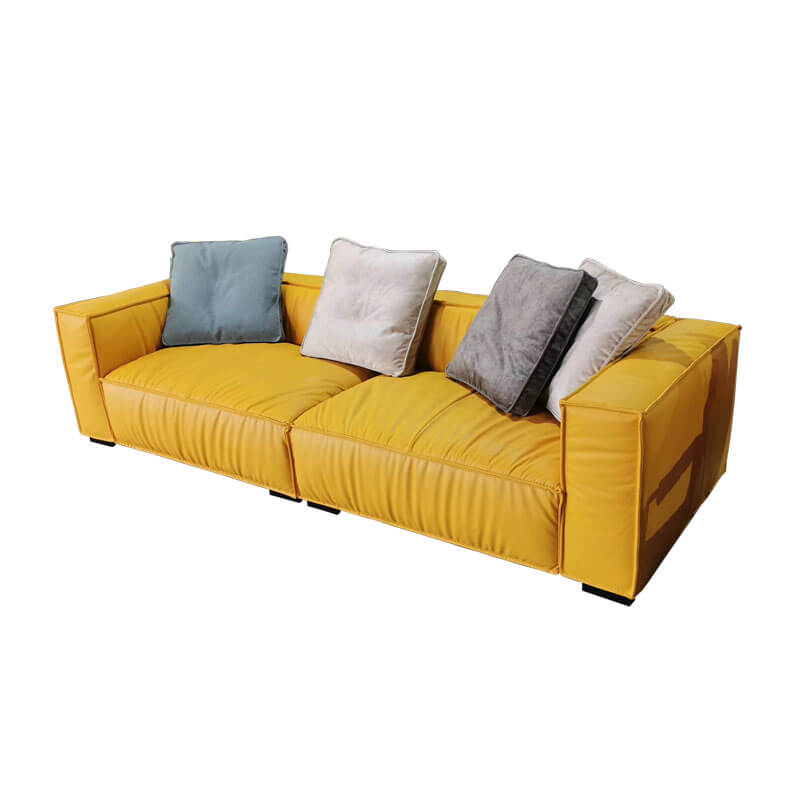 comfy yellow leather sofa