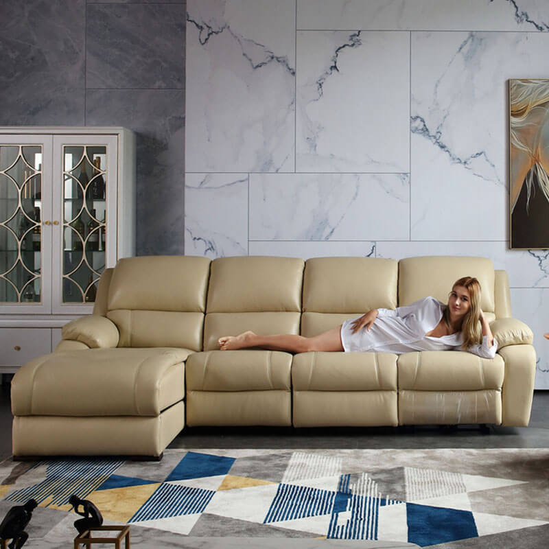 contemporary motorized sectional recliner